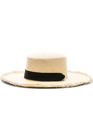 SENSI STUDIO Women Hats - Frayed Boater Hat with Band in Natural &