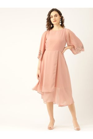 MADAME Women Pink Solid Layered A-Line Dress