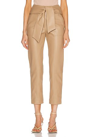 JONATHAN SIMKHAI Women Leather Trousers - Tessa Tie Waist Pant in Camel