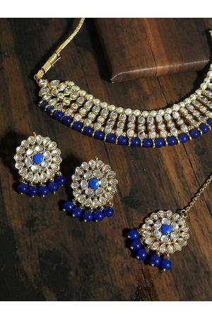 karatcart Gold-Plated White & Blue Kundan-Studded Beaded Handcrafted Jewellery Set