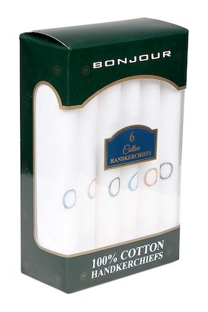 Bonjour Men Set of 6 White Solid Handkerchiefs With Initials (O)