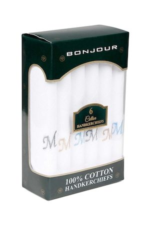 Bonjour Men White Pack of 6 Handkerchief with Initials
