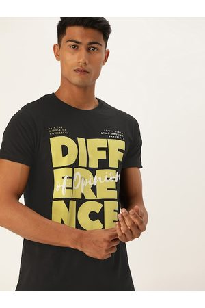 Difference of Opinion Men Black Printed Round Neck T-shirt