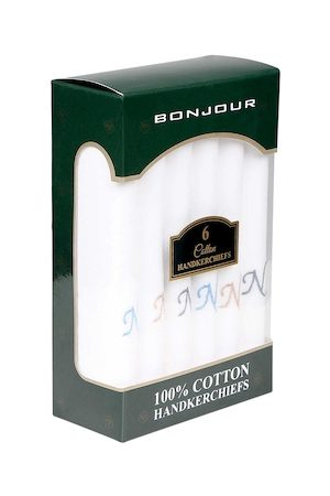 Bonjour Men Pack Of 6 White Solid With Initial N Handkerchief Gift Set