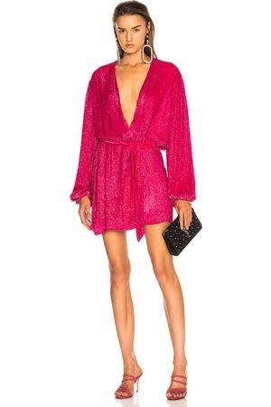Retrofete For FWRD Gabrielle Robe Dress in Metallic Fuchsia