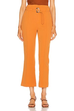 JONATHAN SIMKHAI Florence Crepe Belted Pant in Toffee