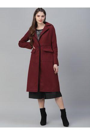 ATHENA Women Coats - Women Burgundy Solid Woolen Longline Overcoat