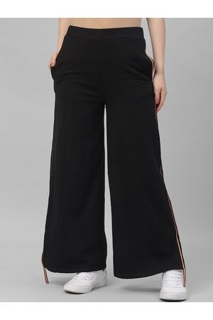 ATHENA Women Black Solid Boot-Cut Track Pants