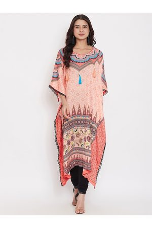 The Kaftan Company Women Peach-Coloured Printed Straight Kurta