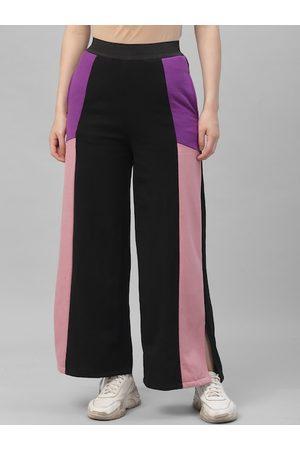 ATHENA Women Black & Pink Colourblocked Boot-Cut Track Pants