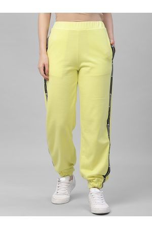 ATHENA Women Lime Green Solid Straight-Fit Joggers