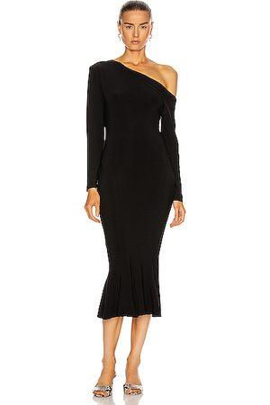 Norma Kamali Long Sleeve Drop Shoulder Fishtail Dress in