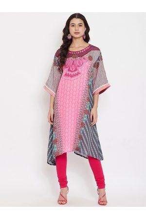 The Kaftan Company Women Pink Printed A-Line Kurta
