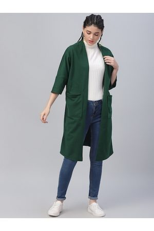 ATHENA Women Green Solid Open Front Shrug