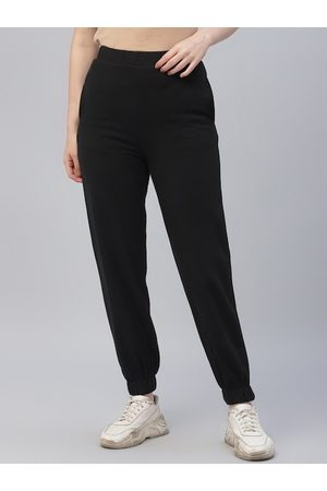 ATHENA Women Black Solid Straight-Fit Joggers
