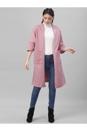 ATHENA Women Pink Solid Open Front Shrug