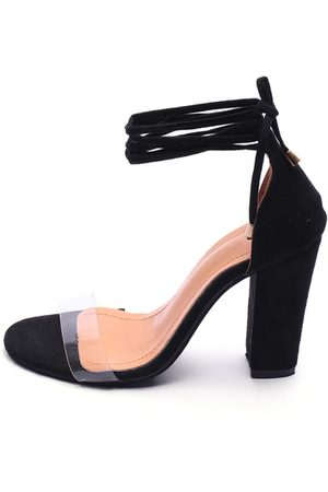YOINS Transparent Lace-up design Sandals with Chunky Heel