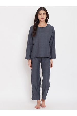 The Kaftan Company Women Black & Grey Checked Night suit