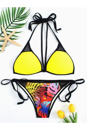 YOINS Lace-up Tie Back Bikini & Printed Bottom Set