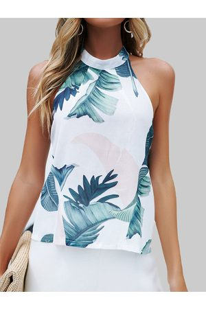 YOINS Backless Design Random Leaf Print Halter Summer Camis
