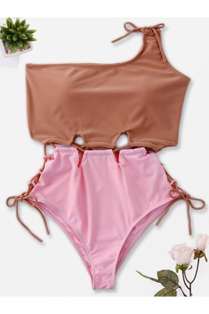YOINS Sexy Contrasting Color Lace-up One Piece Bikinis