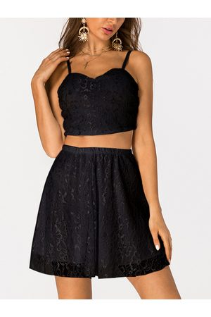 YOINS Zip Back Lace Sleeveless Two Piece Outfits