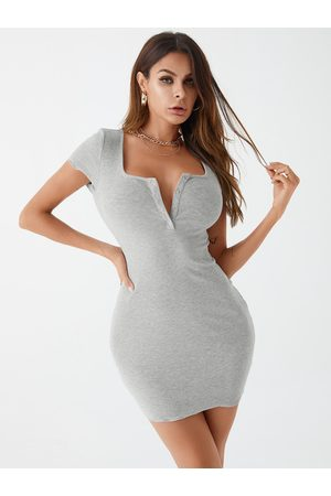 YOINS Knit Front Button Short Sleeves Dress