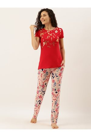 Sweet Dreams Women Red & Peach-Coloured Floral Print Night Suit