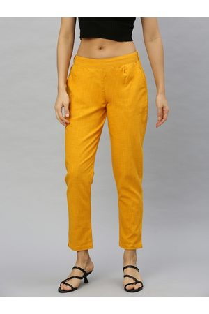 Yash Gallery Women Mustard Yellow Straight Fit Self Design Regular Cropped Trousers