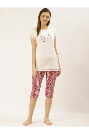 Sweet Dreams Women Off-White & Red Printed Night suit
