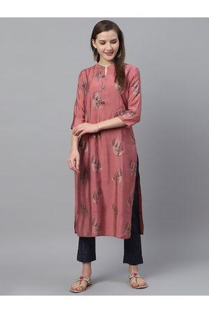 Ishin Women Mauve & Navy Blue Floral Printed Kurta with Trousers