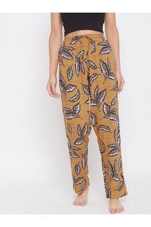 Crimsoune Club Women Mustard Yellow Printed Lounge Pants