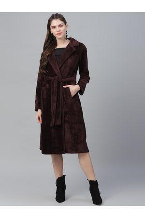 ATHENA Women Burgundy Solid Fur Coat