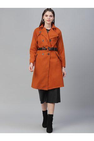 ATHENA Women Orange Solid Woollen Solid Overcoat