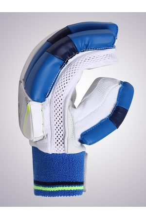 FLX By Decathlon Men White & Blue Colourblocked Latex Cricket Batting Gloves