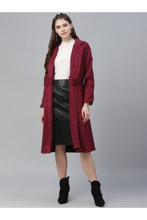 ATHENA Women Burgundy Solid Suede Coat With Side Flap Detail