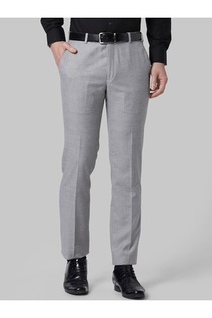 Park Avenue Men Grey Slim Fit Self Design Formal Trousers