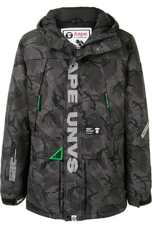 AAPE BY A BATHING APE Camouflage hooded padded parka coat