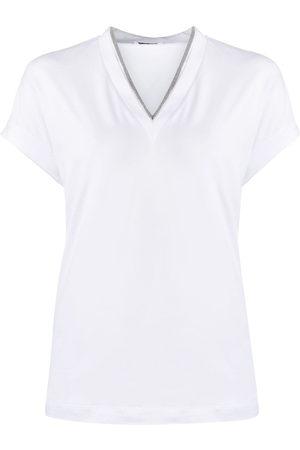 Brunello Cucinelli Women Short Sleeve - Silvery trim V-neck T-shirt
