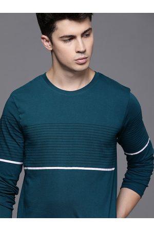WROGN Men Teal Blue Striped Slim Fit Round Neck T-shirt
