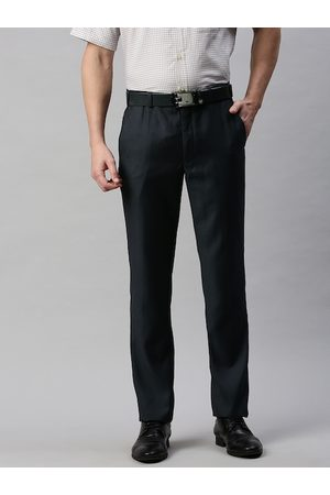 Park Avenue Men Blue Solid Slim Fit Formal Trousers