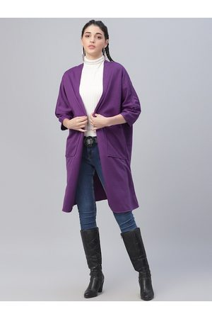 ATHENA Women Purple Solid Open Front Shrug
