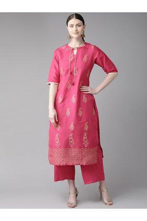 Bhama Couture Women Pink & Golden Block Print Kurta with Palazzos