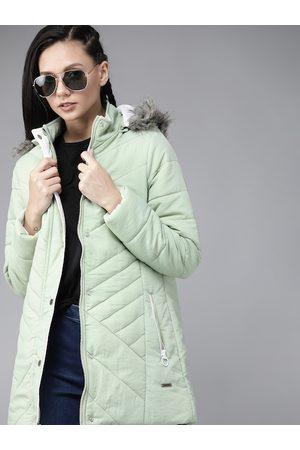 Roadster Women Green Solid Longline Parka Jacket