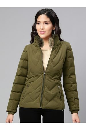 Fort Collins Women Olive Green Solid Padded Jacket with Faux Fur Detail