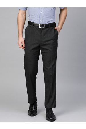 Marks & Spencer Men Charcoal Grey Tailored Regular Fit Self-Checked Formal Trousers