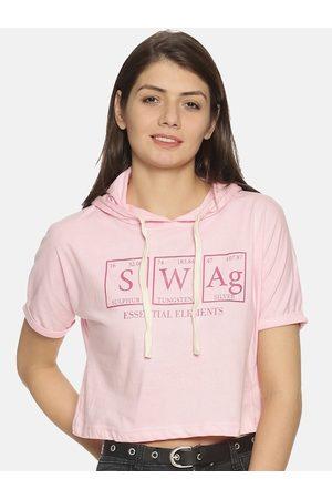 Campus Women Pink Printed Hooded Crop Top