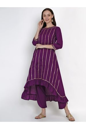 FABNEST Women Purple Striped Kurta with Trousers