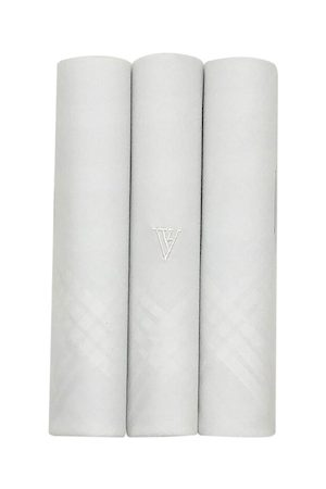 Van Heusen Men Pack of 3 White Solid Handkerchiefs Gift Set