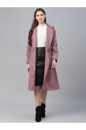 ATHENA Women Pink Solid Overcoat
